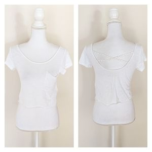 Hollister Small Crop Top White Daisy Strappy Back